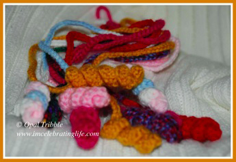 Crocheted bookworm bookmarks