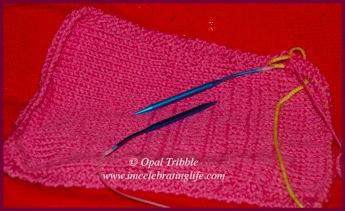 Knitting Stockinette scarf 2 05 28 12
