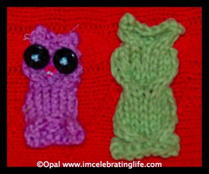 Knitted cable owl applique 1