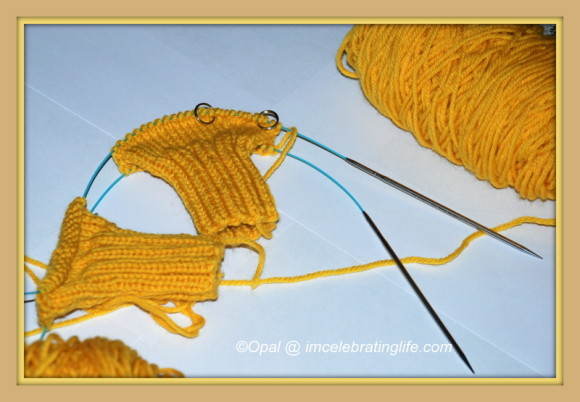 Knitting two mittens at a time with my Hiya Hiya Steel Sharps.