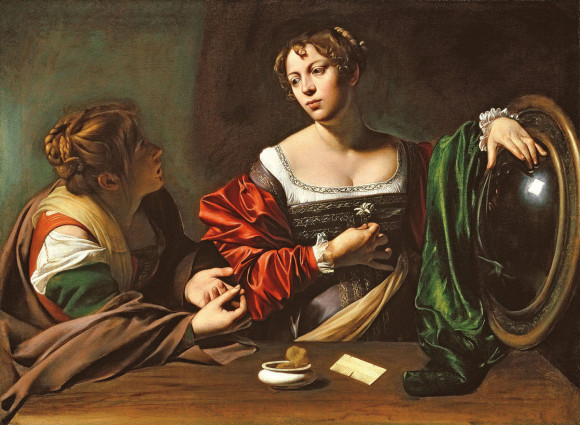 Martha and Mary Magdalene (c.1598)painted by Michelangelo Merisi da Caravaggio