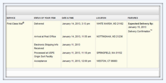 USPS screen shot