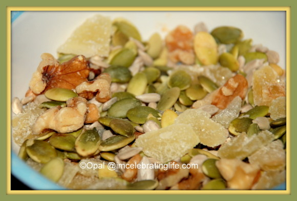 Healthy Snack sunflower, pumpkin, walnuts, raisins, and ginger