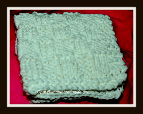 Knitted checkered washcloth_3