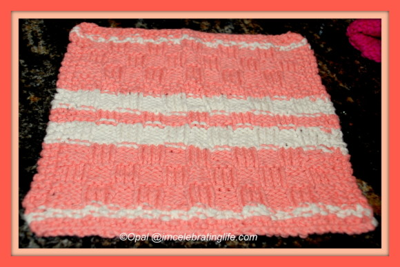 Knitted checkered washcloth peaches and cream