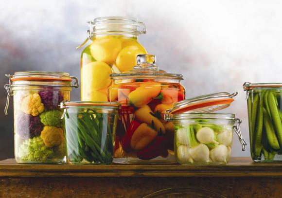 several jars of fermented-foods