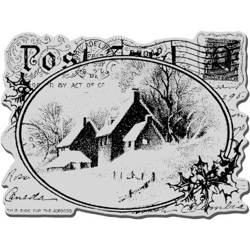 Stampendous Christmas Cling Rubber Stamp Sheet, 4 by 6-Inch, Snowy Postcard