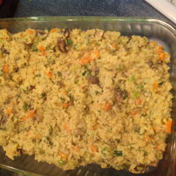 Sticky rice with vegetables and herbs
